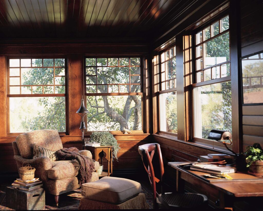 Porch Sun Room Featuring Andersen 400 Series Woodwright Windows Creating Authentic Old-world Character