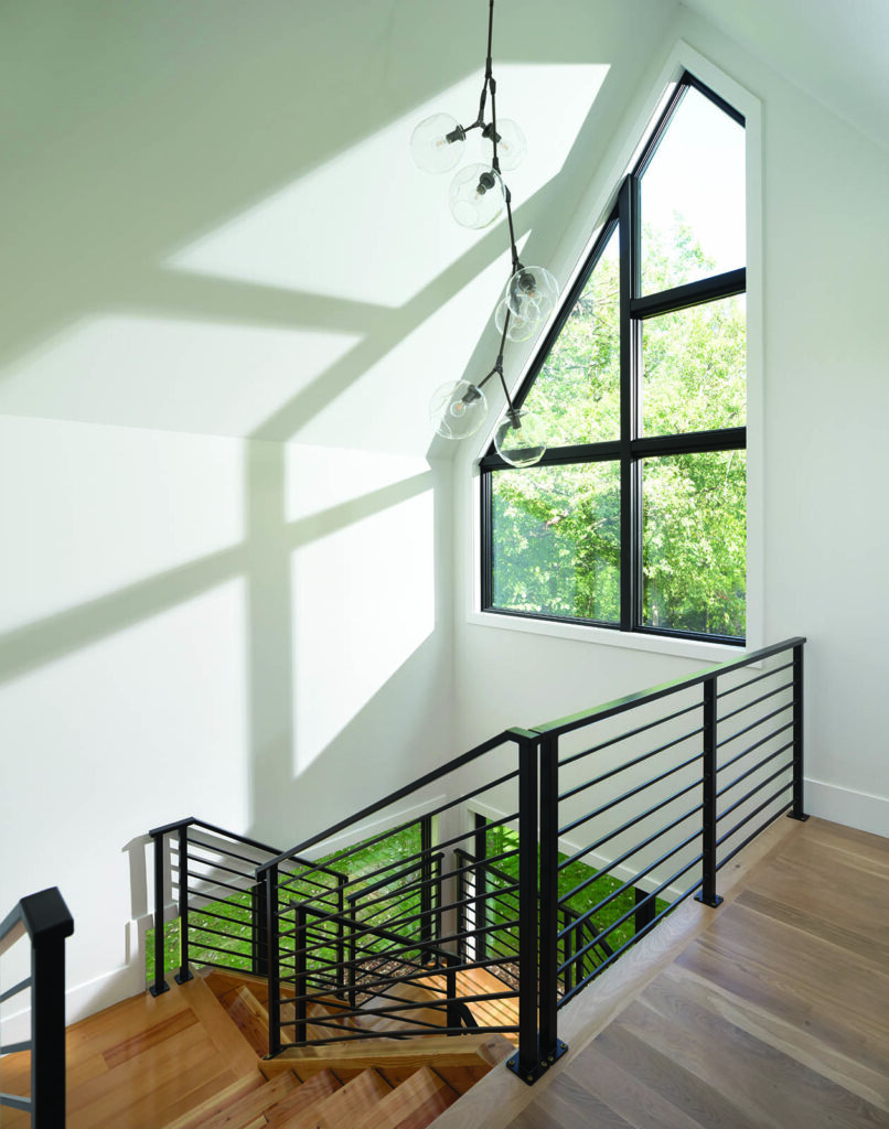 Stairwell With Specialty Shaped Windows Created With Andersen 400 Series Window