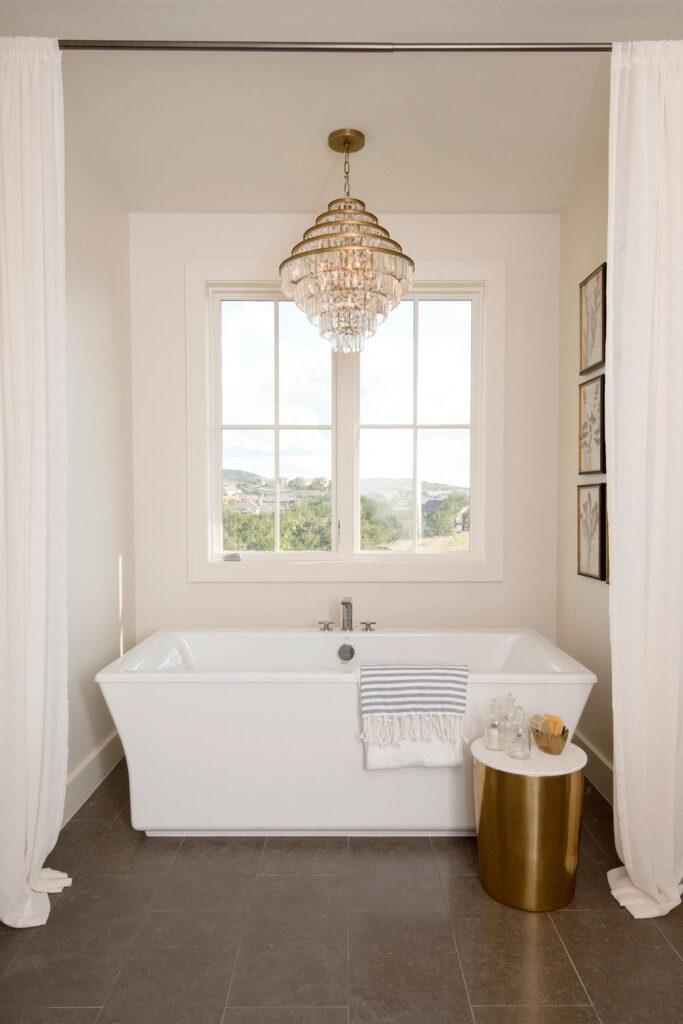 Bathroom Freestanding Bathing Area Showcasing Beautiful Andersen's E-Series Casement Window