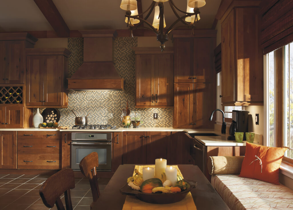 Custom kitchen build with Homecrest cabinets that create dark & rustic look.